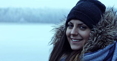 Woman in frosty day