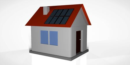 Smal house model with solar panels.