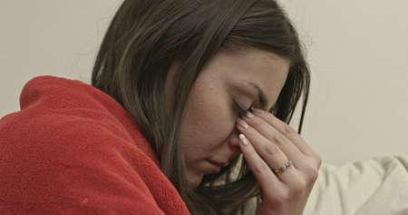 Woman heaving sinus pain. Stock Photo