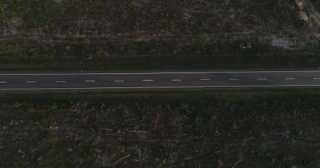 Aerial view of country road.