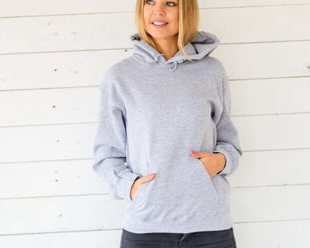 Grey hoodie with area for inscription