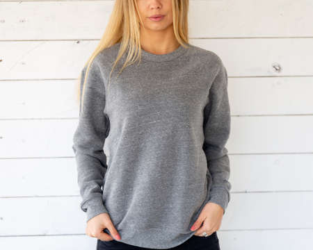 Woman in grey blouse, for mockup