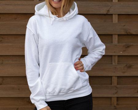Front view of woman in hoodie 版權商用圖片
