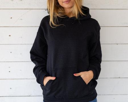 Empty space on black sweatshirt