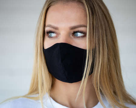Woman in protective mask