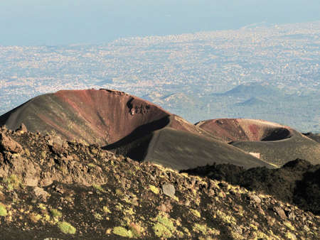 craters: Flank craters on volcano Etna Stock Photo