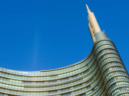 The top steeple of the Unicredit Tower, the highest building in Italy, in Milan