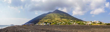 eolian islands: A panoramic view of Stromboli