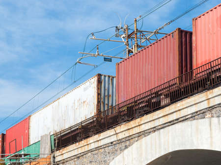 freight train: Containers on a freight train