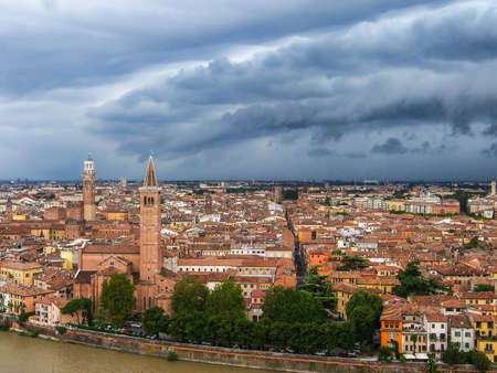 26: Turbulent stormy sky above Verona on the 26 July 2014 Stock Photo