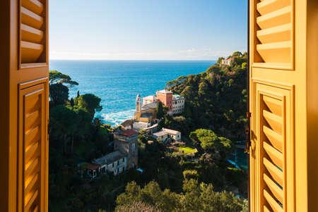 glimpse: Portofino hill through a window Stock Photo