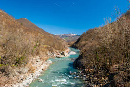 apennines: The river Trebbia flows across the Apennines during the winter Stock Photo