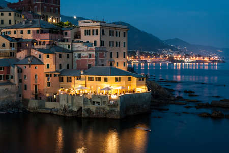 morning blue hour: Boccadasse, district of Genoa, during a summer evening