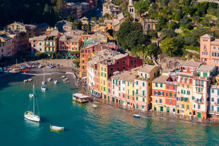 view on sea: Aerial view of the bay of Portofino