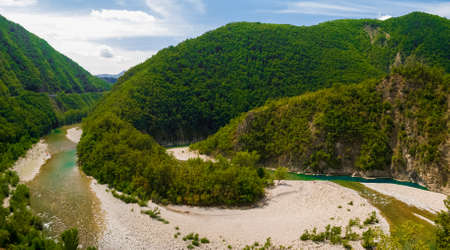 meander: Aerial view of a meander of the river Trebbia during the summer