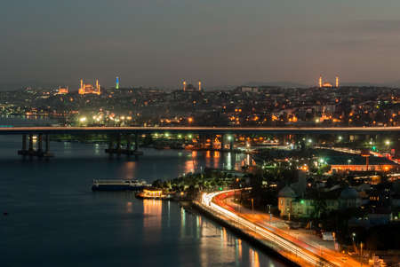 morning blue hour: Night skyline of Istanbul with mosquees in the background