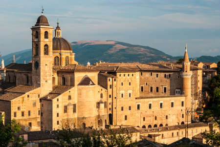 urbino: Buildings in Urbino during the golden hour Stock Photo