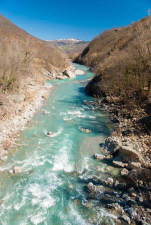 apennines: The river Trebbia across the Apennines during the winter
