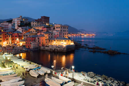 a nocturne: Boccadasse, district of Genoa, during a summer evening