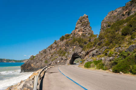 palinuro: Short tunnel through a cliff near the sea in Cilento, between Marina di Camerota and Palinuro