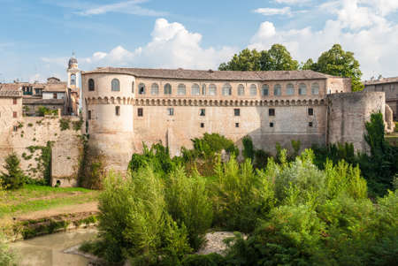 urbino: The Ducal Palace of Urbania Marche, Italy over the river Metauro