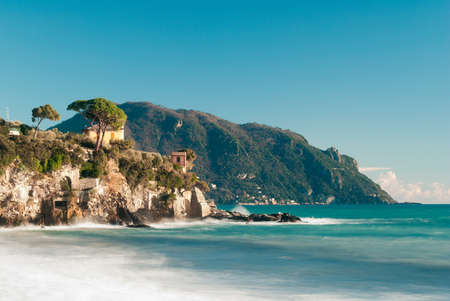 promontory: Coastline in Liguria with promontory of Portofino in background