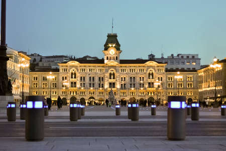 a nocturne: The City Hall of Trieste northern Italy