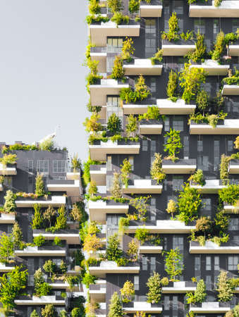 exterior: Bosco Verticale literally Vertical Forest is a complex of two residential towers in the modern district of Porta Nuova in Milan; their peculiarity is that they host hundreds of trees and plants in the facades.