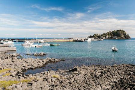 columnar: Columnar basalts in the coastline of Acitrezza, in Sicily