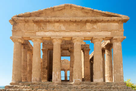 valley of the temples: Front view of the greek temple of Concordia in the valley of the temples of Agrigento Sicily Stock Photo