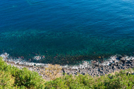 Aerial view of the coastline below the Timpa, near Catania eastern Sicily