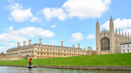 punter: Colleges buildings in Cambridge UK seen from the river Cam Stock Photo