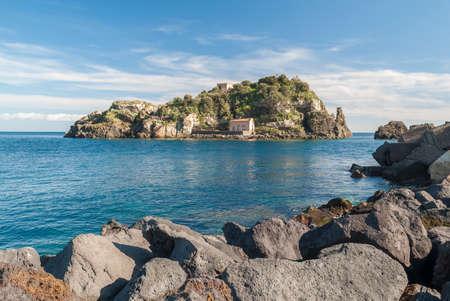 touristic: Island Lachea in Acitrezza, touristic town in Sicily