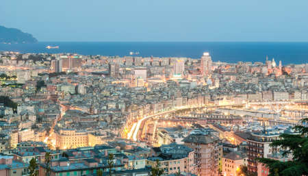 blue hour: Aerial view of Genoa during the blue hour