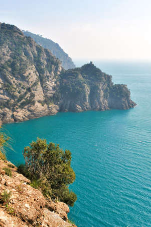 promontory: Scenic landscape from a track across the promontory of Portofino Stock Photo