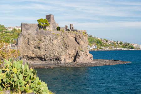 norman castle: The norman castle of Acicastello, near Catania, built on a lava cliff on the sea