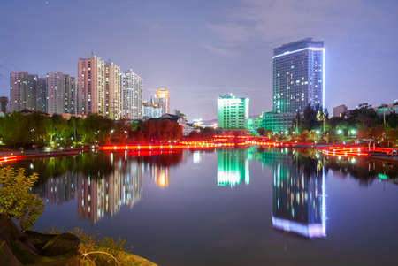 a nocturne: Nocturne view of the lake in the Yantan Park in Lanzhou (China)