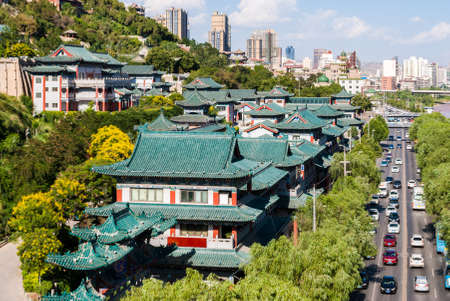 View of traditional buildings in Lanzhou (China) Imagens