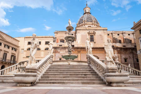 Stairs of the fountain in Piazza Pretoria, Palermo