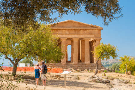 concordia: Front view of the greek temple of Concordia in the valley of the temples of Agrigento (Sicily)