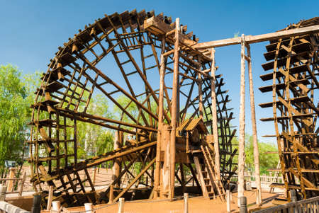 watermill: Traditional wooden waterwheel in Lanzhou (China)