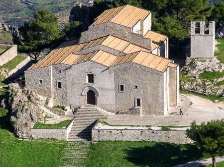 Aerial view of a church in Caltabellotta, small village Sicily Stock Photo