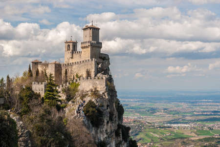 The fortress of Guaita in San Marino; plains of Romagna in the background