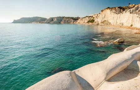 scala: The white cliff called Scala dei Turchi in Sicily, near Agrigento Stock Photo