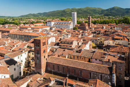 Aerial view of Lucca, in Tuscany, during a sunny afternoon; the white church in the background is the cathedral