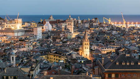 Evening view of the downtown of Genoa