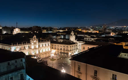 Night view of Piazza Universita in Catania, seen from above.