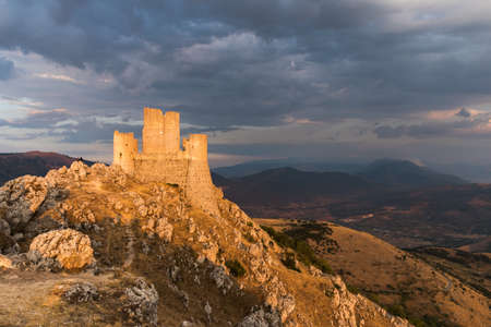 Rocca Calascio, an old medieval fortress in the mountains of Abruzzo