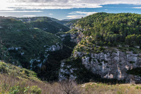 Panoramic view of the Anapo valley and the Pantalica plateau near Siracusa, in Sicily
