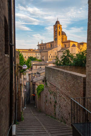 Narrow alley in the city center of Urbino